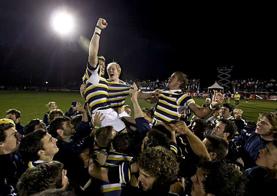 California's Keegan Engelbrecht, Eric Fry and Colin Hawley, (left to right) celebrate the championship win as the  Bears beat  BYU 19-7 in the USA Rugby National College Championship game on Saturday May. 1, 2010, in Palo Alto, Calif., Photo: Michael Macor, The Chronicle