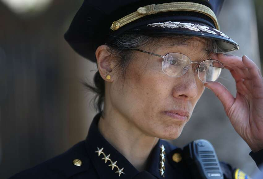 San Francisco Police Chief Heather Fong meets with community members on 3rd Street in the Bayview District on Thursday August 14, 2008 in San Francisco.