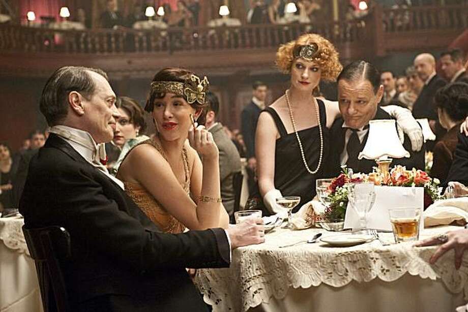 "Steve Buscemi and Paz de la Huerta (left) and Chris Mulkey (right) in a scene from, ""Empire of the Boardwalk."" Photo: Abbot Genser, HBO"