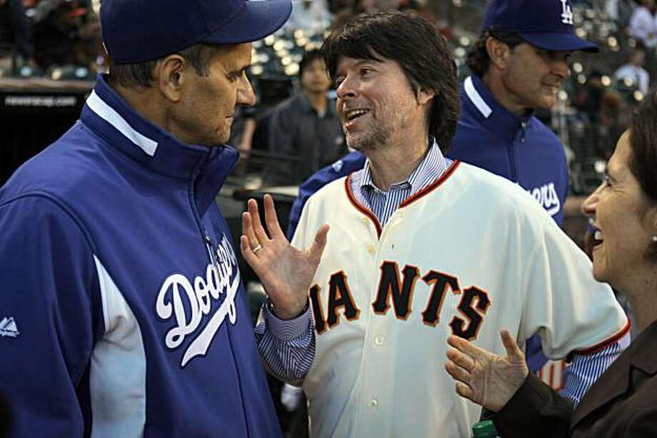 "Ken Burns talks with Joe Torre at AT&T Park, September. 14, 2010, in San Francisco, Calif.  Ken Burns has made a sequel to his ""Baseball"" series, called ""The 10th Inning."" Photo: Adm Golub, The Chronicle"