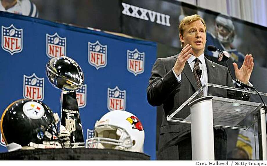 TAMPA, FL - JANUARY 30:  NFL Commissioner Roger Goodell addresses the media at the news conference prior to Super Bowl XLIII on January 30, 2009 at Tampa Convention Center in Tampa, Florida. (Photo by Drew Hallowell/Getty Images) Photo: Drew Hallowell, Getty Images