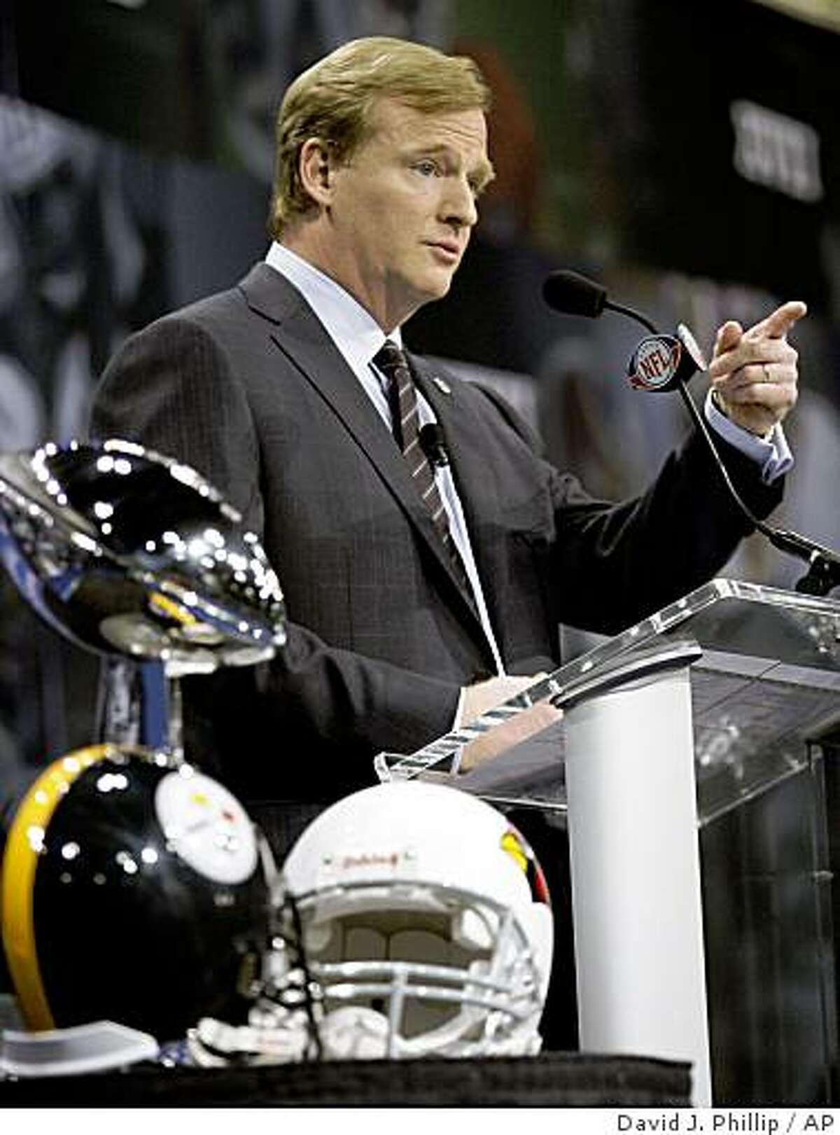 NFL Commissioner Roger Goodell speaks at a news conference for Super Bowl XLIII Friday, Jan. 30, 2009, in Tampa.