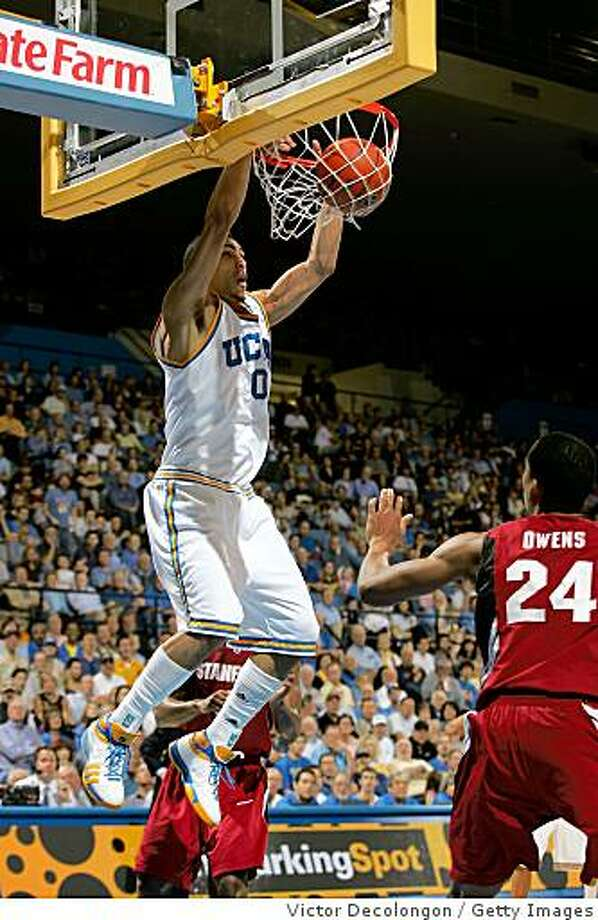 WESTWOOD, CA - JANUARY 31:  Drew Gordon #0 of the UCLA Bruins goes up for the slam dunk in the second half during their NCAA basketball game against Stanford Cardinal at Pauley Pavilion on January 31, 2009 in Westwood, California. The Bruins defeated the Cardinal 97-63. (Photo by Victor Decolongon/Getty Images) Photo: Victor Decolongon, Getty Images