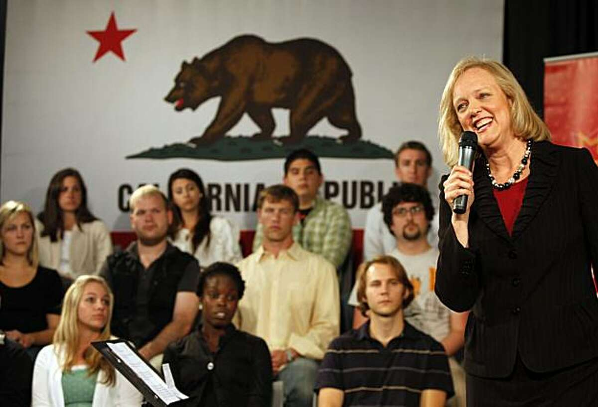 California Republican gubernatorial candidate Meg Whitman speaks during a campaign stop a Yelp headquarters in San Francisco, Wednesday, Sept. 15, 2010.