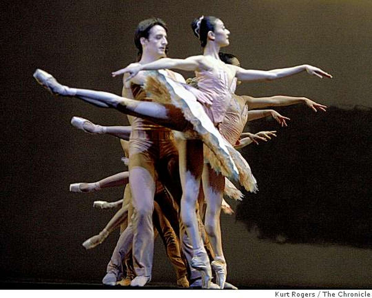 Ruben Martin and Yuan Yuan Tan dance in NAKED from Program 2 in a dress rehearsal at the War Memorial Opera House.