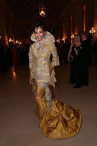 Sandra Go, wears a dress by Victor Tung couture, to the San Francisco Opera's 88th opening night performance of Aida, Friday, September 10, 2010. Photo: Erin Lubin, Special To The Chronicle