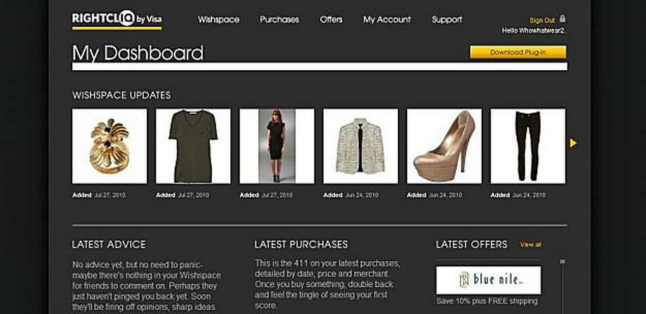 "Visa launched a new online shopping product in August, 2010, called ""Rightcliq,"" which allows consumers to aggregate thumbnail photos of items they wish to buy from various web sites, manage their payments, and take advantage of merchant discounts. Here,a ""dashboard"" from the Rightcliq website, typical of what a consumer using the website would create and use personally. Photo: Courtesy Of Visa"