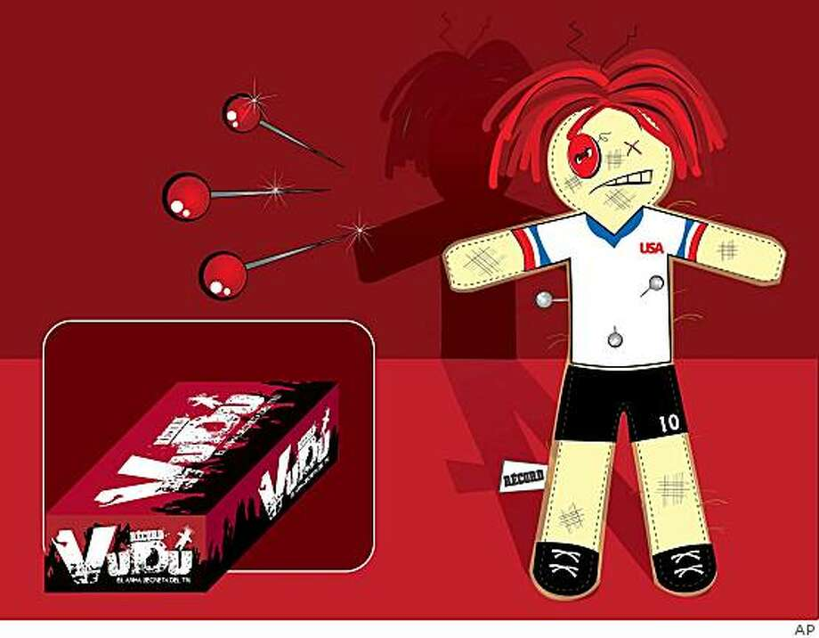 In this image released by the Mexican newspaper Record in Mexico City, Tuesday, Jan. 27, 2009, a graphic depicting a voodoo doll of a U.S. soccer player is seen. An advertisement in the sports daily Record on Tuesday invited fans to clip coupons and redeem them at their local Radio Shack store for a voodoo-doll likeness of a U.S. player. The hope was that a little black magic might help Mexico break a decade of futility on the road versus its northern neighbor. (AP Photo/ Mexican newspaper Record) **  NO SALES  ** Photo: AP