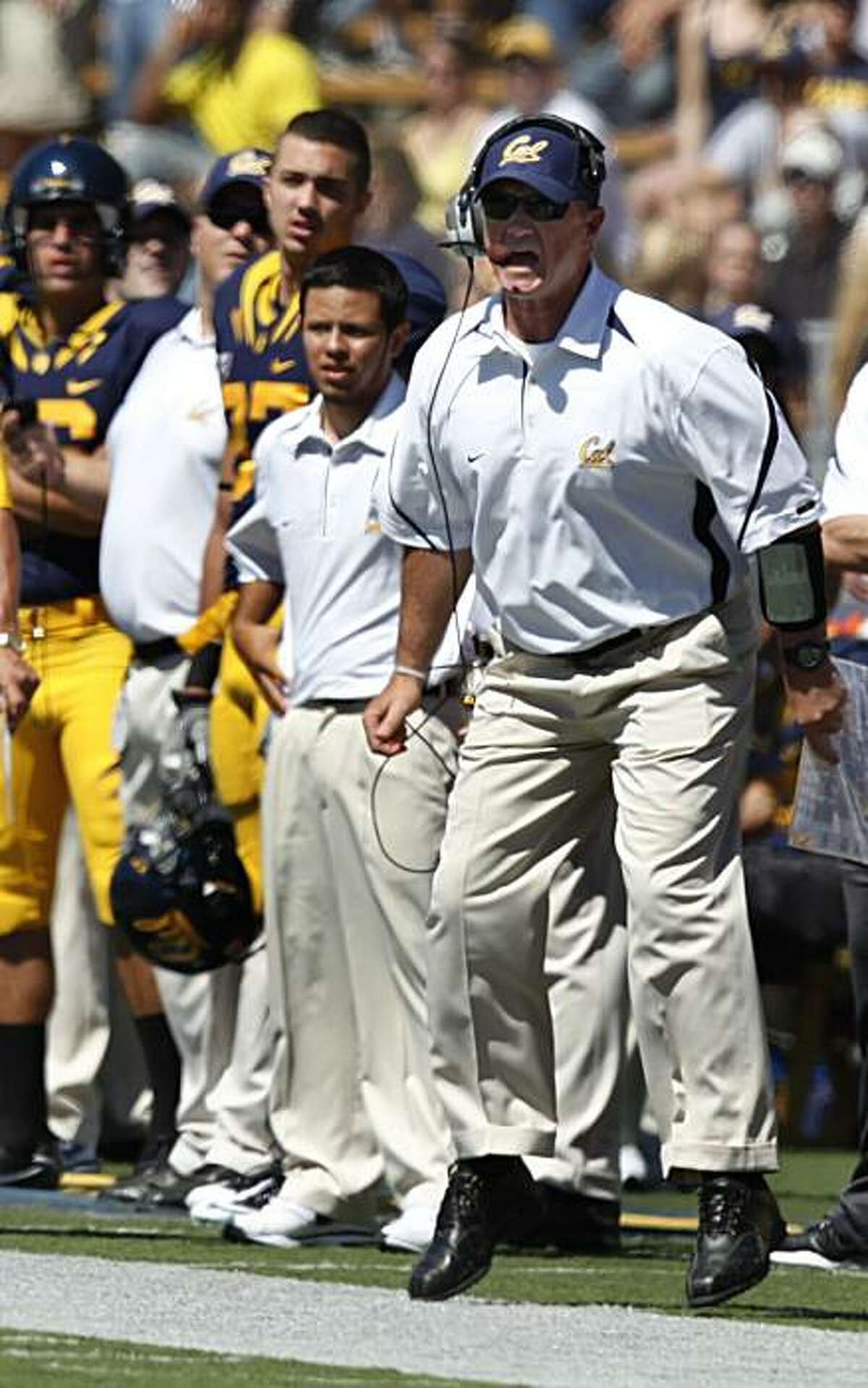 Cal head coach Jeff Tedford reacts to a non-call during a kick-off in the first half of the Bears' game against the Colorado Buffaloes in Berkeley on Saturday.