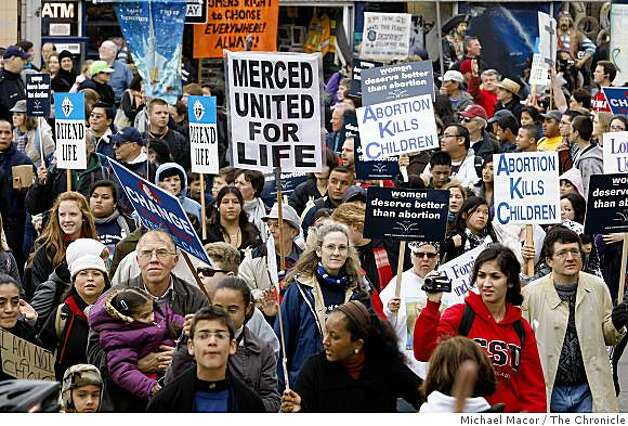 "Thousands of people participate in the  ""Walk for Life"", pro-life march as they winds their way up Hyde Street at Fisherman's Wharf in San Francisco, Calif., on Saturday Jan. 24, 2009. Photo: Michael Macor, The Chronicle"