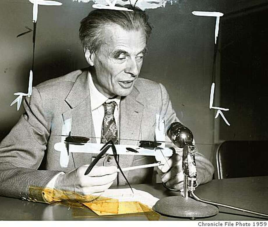 "1959 - Aldous Huxley, author of ""Brave New World."" Photo: Chronicle File Photo 1959, Chronicle File"