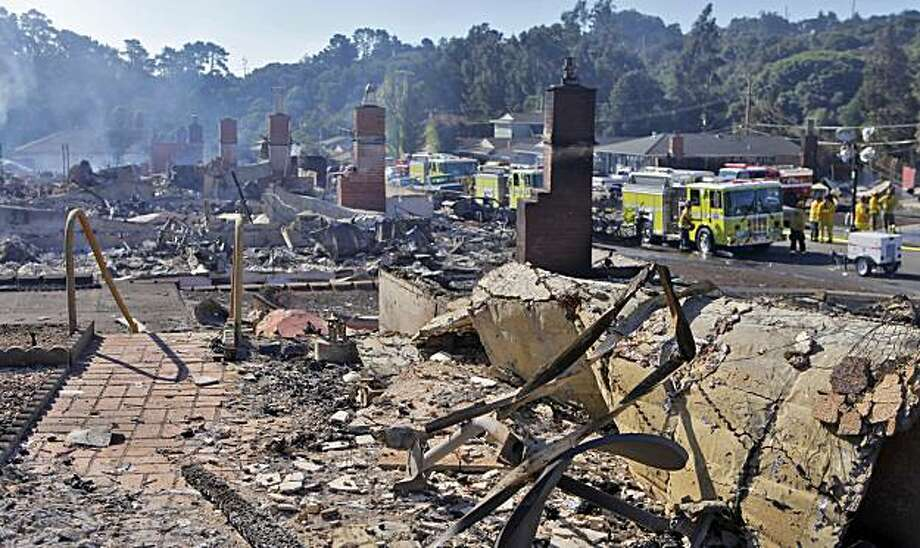 Chimneys stand without their homes, Friday Sept. 10, 2010, from the inferno that happened last night, in San Bruno, Calif. Photo: Lacy Atkins, The Chronicle