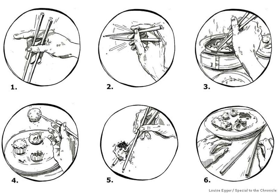 Illustrations on how not to use chopsticks.Louise Egger / Special to the Chronicle Photo: Louise Egger, Special To The Chronicle / ONLINE_YES