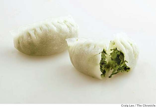Pea shoot dumplingTranslucent, rice paper-wrapped dumplings are packed with brilliant-green snow pea tendrils. Photo: Craig Lee, The Chronicle