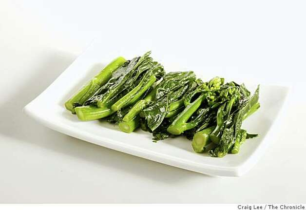 Gai lanAlso called Chinese broccoli, these stalks are often served cold, drizzled with oyster sauce and offer a nice textural contrast to steamed dumplings. Photo: Craig Lee, The Chronicle
