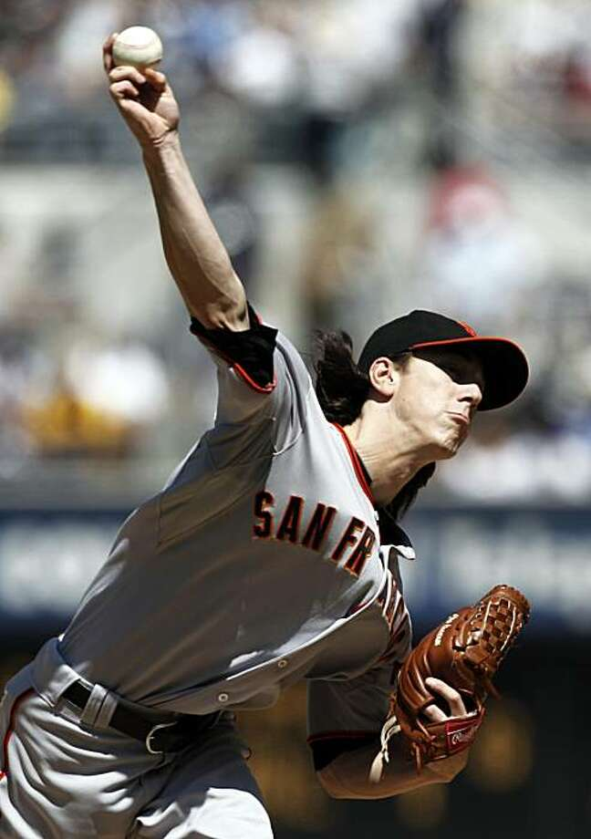 San Francisco Giants starting pitcher Tim Lincecum throws to the San Diego Padres during the first inning of a baseball game in San Diego, Sunday, Sept. 12, 2010. Photo: Chris Carlson, AP