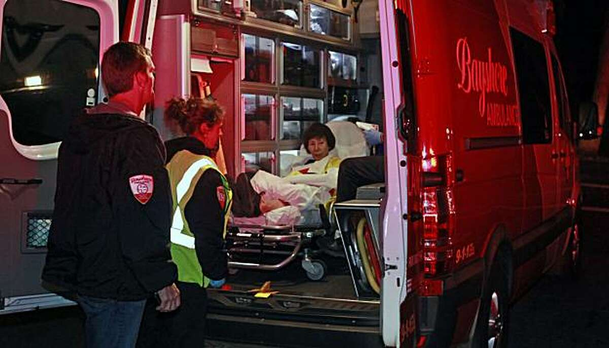 A victim of the blast and fire that destroyed dozens of home in San Bruno is transported to a local hospital Thursday, Sept. 9, 2010.