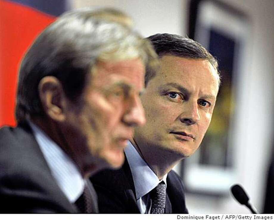 French Foreign Minister Bernard Kouchner (L) and French State Secretary for European Affairs Bruno Le Maire hold a press conference on January 26, 2009 at the end of a Council of EU Foreign Ministers at the EU headquarters in Brussels.  AFP PHOTO / DOMINIQUE FAGET  AFP PHOTO / DOMINIQUE FAGET (Photo credit should read DOMINIQUE FAGET/AFP/Getty Images) Photo: Dominique Faget, AFP/Getty Images