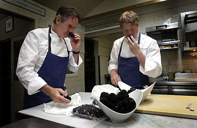 French Laundry Executive Chef Thomas Keller and his Chef de Cuisine, Timothy Hollingsworth test both Australian and French summer truffles just minutes after their delivery. Nightly the staff creates an once-in-a-lifetime dining experience at this three Michelin star restaurant. Wednesday August 18, 2010. Photo: Lance Iversen, The Chronicle
