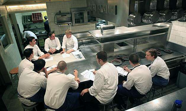 French Laundry chefs gather in the kitchen as Executive Chef Thomas Keller and his Chef de Cuisine, Timothy Hollingsworth create a new fresh menu for the following nights service. Saturday August 21, 2010. Photo: Lance Iversen, The Chronicle