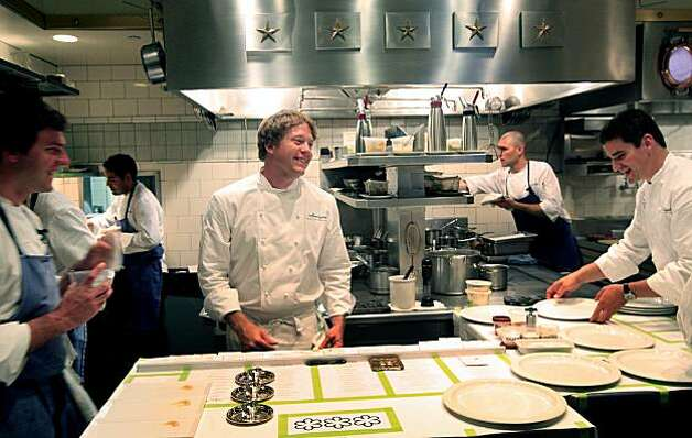 French Laundry Chef de Cuisine, Timothy Hollingsworth has a laugh with his staff as the chef's plate up a thirteen-course meal for about filthy guest, at the three Michelin star restaurant in Yountville Ca. Saturday August 21, 2010. Photo: Lance Iversen, The Chronicle