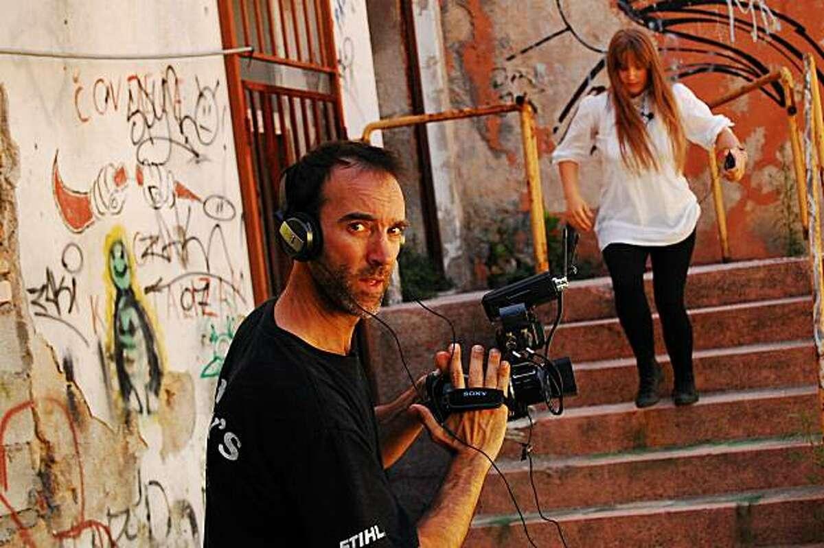 Filmmaker Steve Nemsick on location in Mostar, Bosnia-Herzegovina, 2009.