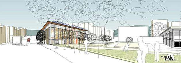 The proposed new North Beach Branch library would fill an empty block along Columbus Avenue with a tall airy structure designed by Leddy Maytum Stacy Architects. The project also envisions the closing of one block of Mason Street for parkland, and demolition of the existing branch Photo: See Special Instructions, SEE SPECIAL INSTRUCTIONS