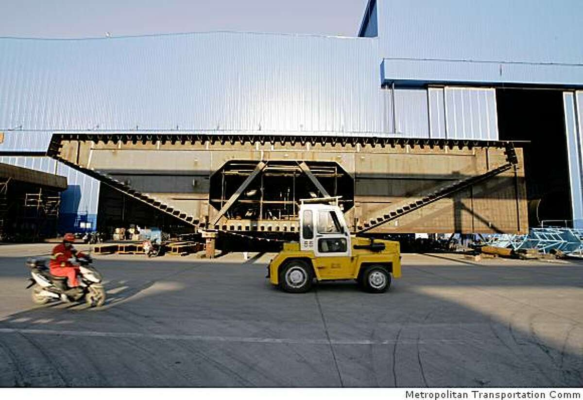 A section of the new Bay Bridge road deck at the Zhenhua Port Machinery Co. fabication plant in Shanghai.