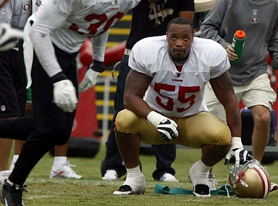 San Francisco 49ers Ahmad Brooks, #55, during practice in Santa Clara, Calif., on Monday, August 2, 2009. Photo: Liz Hafalia, The Chronicle