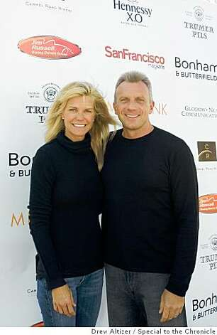 Former 49ers quarterback Joe Montana and his wife Jennifer at a benefit hosted by the Jim Russell Driving School at Infineon Raceway. Photo: Drew Altizer, Special To The Chronicle