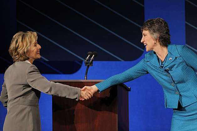 U.S. Sen. Barbara Boxer and republican candidate for U.S. Senate Carly Fiorina shake hands after they finished participating in a debate on the Saint Mary's College campus in Moraga, Calif,. on Wednesday, September 1, 2010. Photo: Carlos Avila Gonzalez, The Chronicle