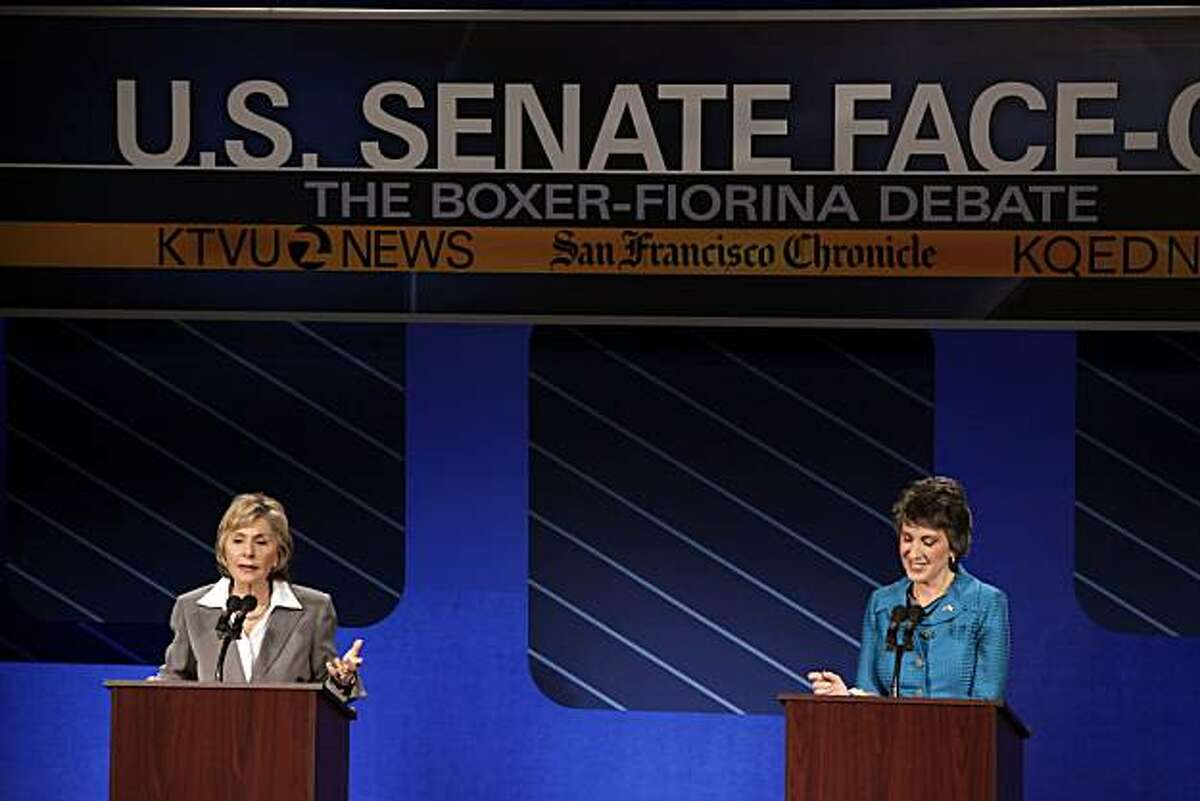U.S. Sen. Barbara Boxer, left, and republican candidate for U.S. Senate Carly Fiorina participate in a debate on the Saint Mary's College campus in Moraga, Calif,. on Wednesday, September 1, 2010.