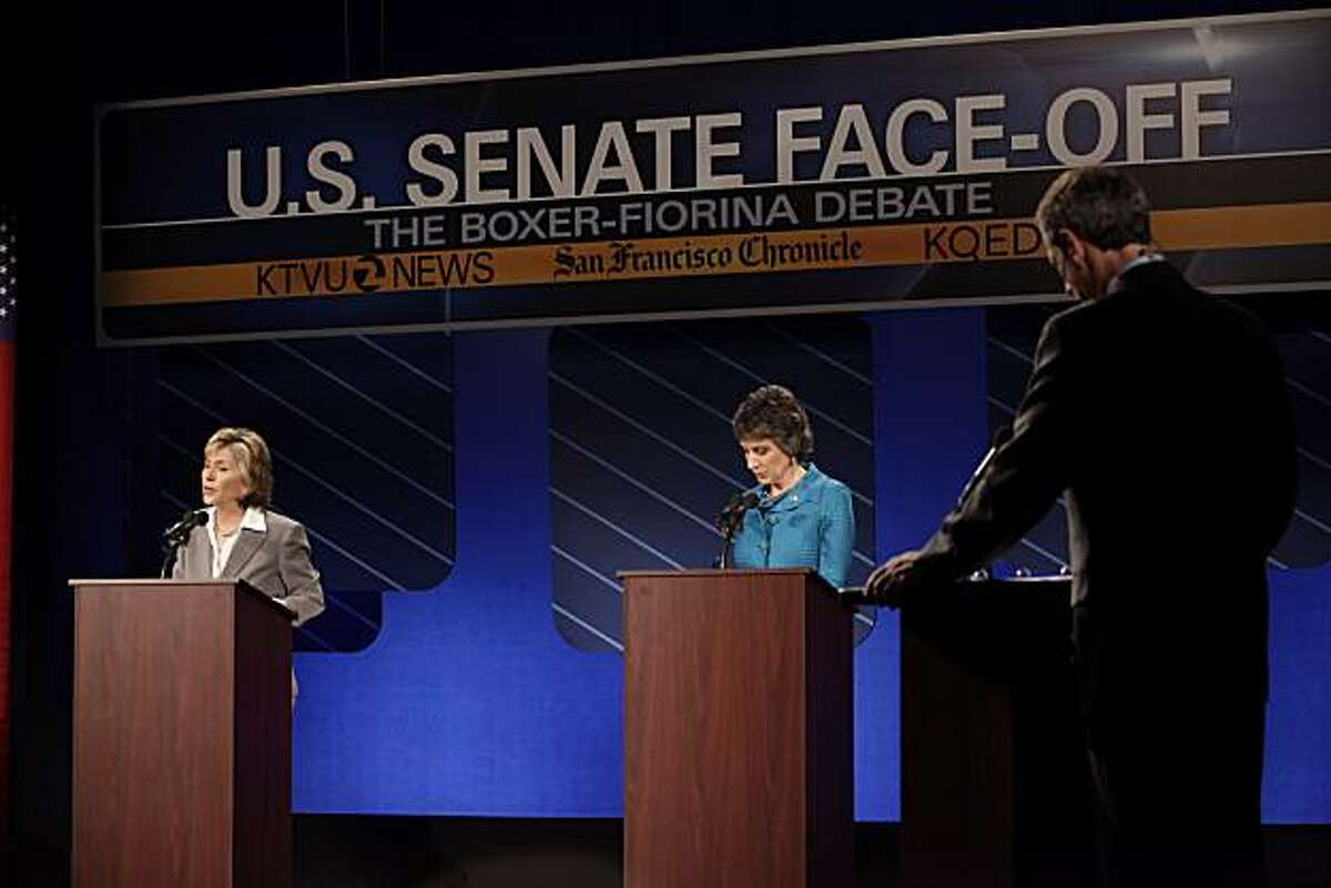U.S. Sen. Barbara Boxer, left, responds to a question as she and republican candidate for U.S. Senate Carly Fiorina participate in a debate on the Saint Mary's College campus in Moraga, Calif,. on Wednesday, September 1, 2010.