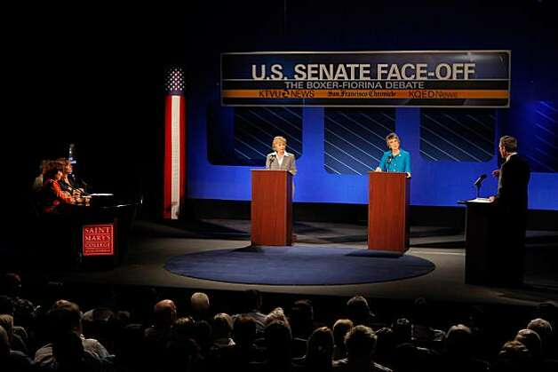 U.S. Sen. Barbara Boxer, left, and republican candidate for U.S. Senate Carly Fiorina participate in a debate on the Saint Mary's College campus in Moraga, Calif,. on Wednesday, September 1, 2010. Photo: Carlos Avila Gonzalez, The Chronicle