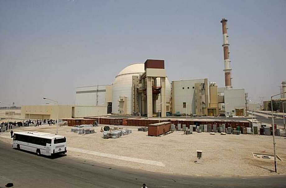 The reactor building of the Bushehr nuclear power plant is seen, just outside the southern city of Bushehr, Iran, Saturday, Aug. 21, 2010.  Iranian and Russian engineers began loading fuel Saturday into Iran's first nuclear power plant, which Moscow has promised to safeguard to prevent material at the site from being used in any potential weapons production. Photo: Vahid Salemi, AP