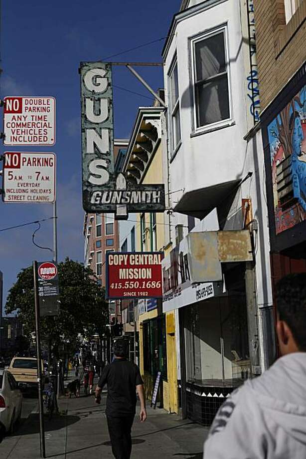 An old sign for High Bridge Arms hangs above it's Mission Street location on Monday Aug. 27, 2010 in San Francisco, Calif. Photo: Mike Kepka, The Chronicle