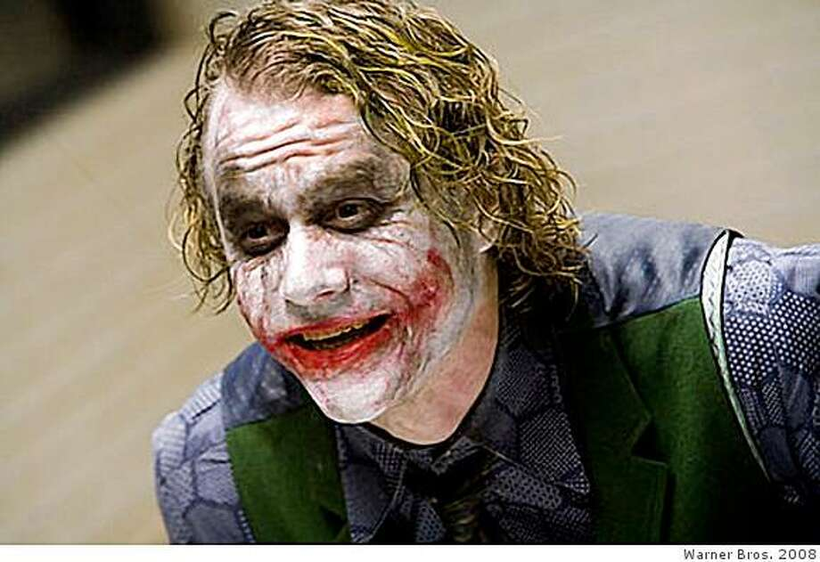 "The late actor Heath Ledger portrays the character ""The Joker"" in a scene in the new film ""The Dark Knight"" Photo: Warner Bros. 2008"