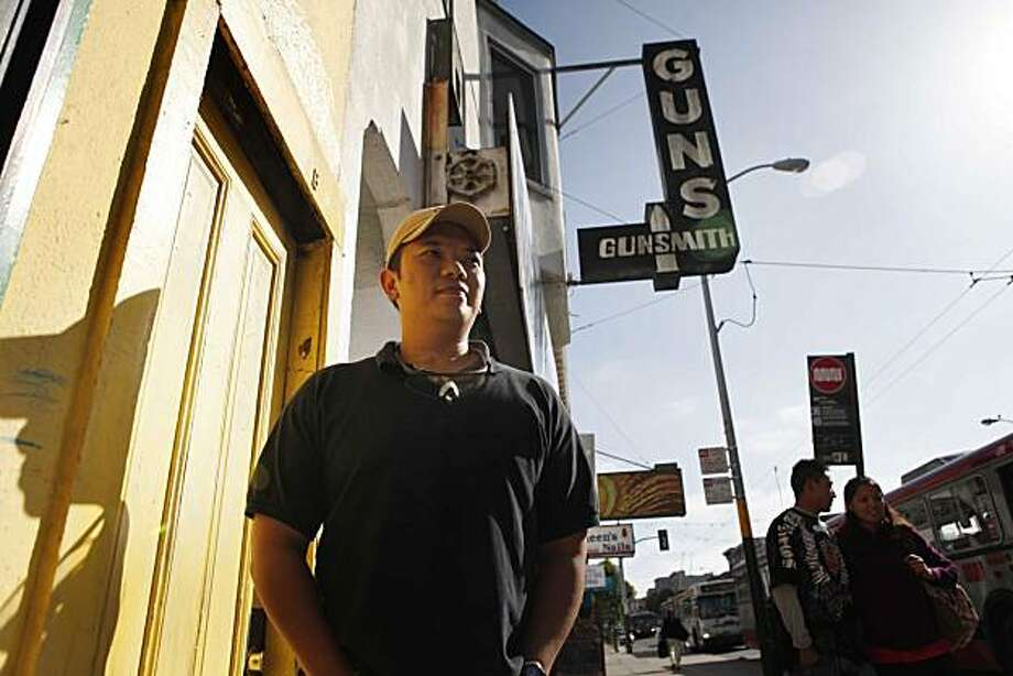 With city permit applications in the works, Steve Alcairo, general manager of High Bridge Arms, the only gun shop in the city limits, stands for a portrait outside the Mission Street store on Monday Aug. 27, 2010 in San Francisco, Calif. Photo: Mike Kepka, The Chronicle