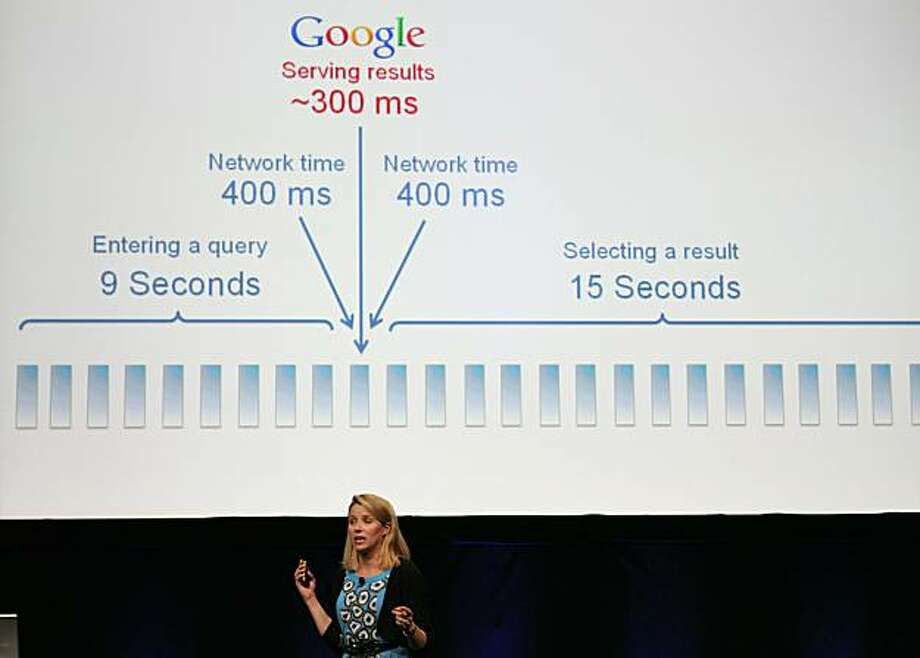 SAN FRANCISCO - SEPTEMBER 08:  Google Vice President of Search Product and User Experience Marissa Mayer speaks during an announcement September 8, 2010 in San Francisco, California. Google announced the launch of Google Instant, a faster version of Google search that streams results live as you type your query. Photo: Justin Sullivan, Getty Images
