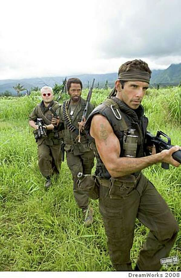 """Tropic Thunder"" stars (from left) Jack Black, Robert Downey Jr. and Ben Stiller. Photo: DreamWorks 2008"