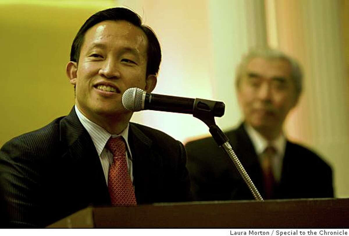 San Francisco Supervisor David Chiu, the first Chinese American elected President of the Board of Supervisors, speaks during a dinner at the New Asia Restaurant in San Francisco , Calif., on Friday, January 9, 2009.