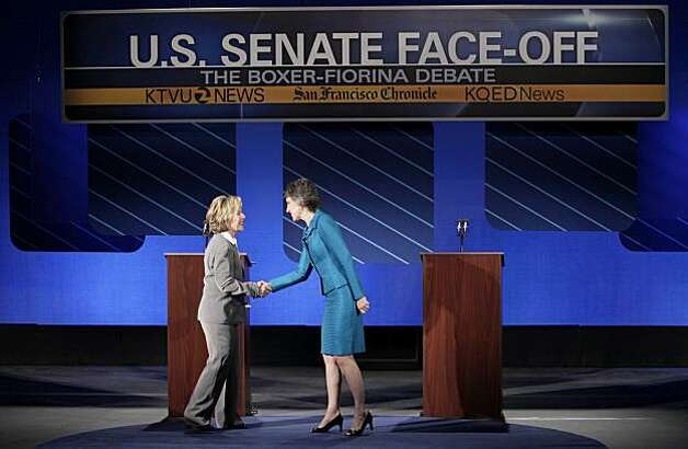 Democratic Sen. Barbara Boxer, left, shakes hands with Republican Carly Fiorina before a debate at St. Mary's College in Moraga, Calif., Wednesday, Sept. 1, 2010. Photo: Jeff Chiu, AP