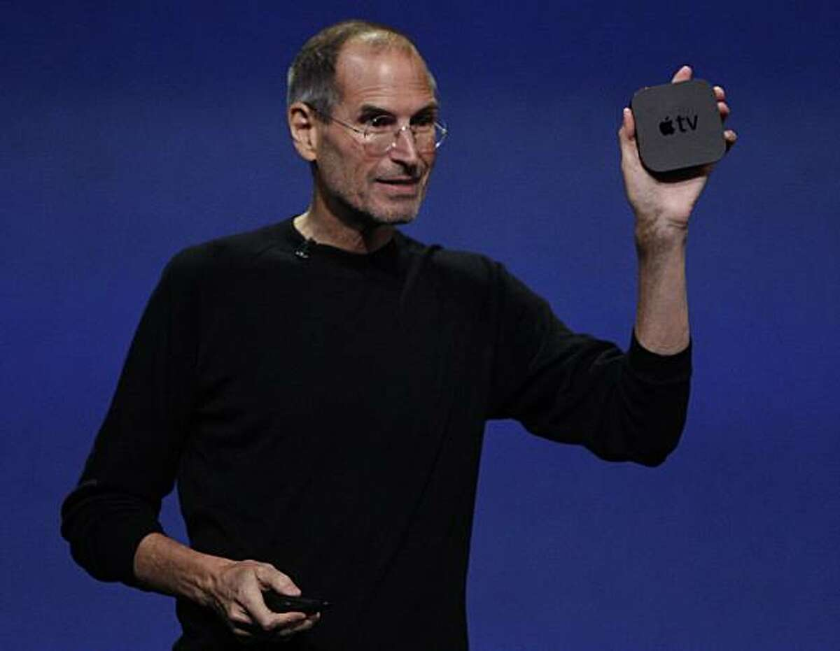 Apple CEO Steve Jobs introduces the newest version of the Apple TV device at the Yerba Buena Center for the Arts in San Francisco, Calif. on Wednesday, Sept. 1, 2010.