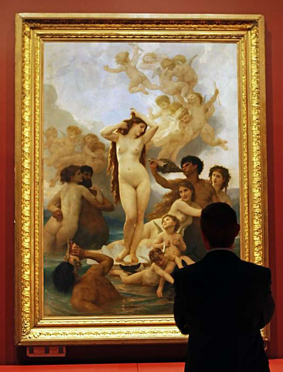 """John Buchanan Director of Museums, Fine Arts Museum of San Francisco views The Birth of Venus, by William-Adolphe Bouguereau 1879 minutes after it was hung at San Francisco's De Young Museum. The De Young Museum will unveil it's newsiest show May 22nd """"Birth of Impressionism: with over one hundred masterpieces on loan from the Musee d'Orsay in Paris. Wednesday May 5, 2010."""