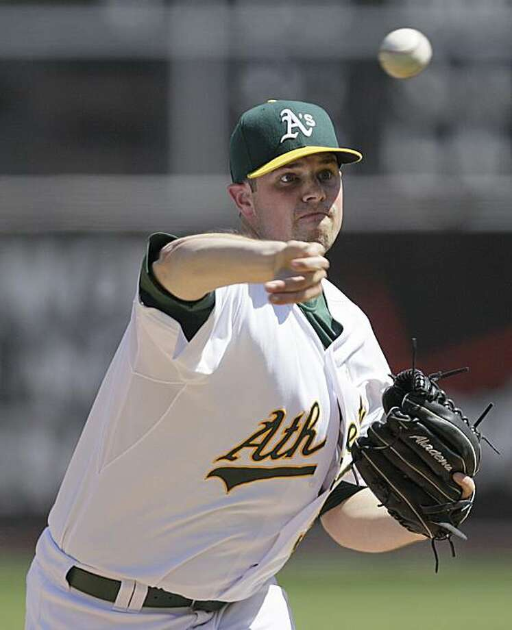 Oakland Athletics' Vin Mazzzaro works against the Los Angeles Angels during the first inning of a baseball game Sunday, Sept. 5, 2010, in Oakland, Calif. Photo: Ben Margot, AP