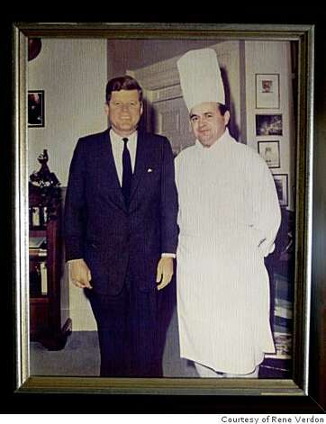 Former Presidential chef, Rene Verdon with a picture of himself with President Kennedy on the day he became a US citizen, displayed at his San Francisco, Calif. home, on Thursday Jan. 15, 2009. Photo: Courtesy Of Rene Verdon