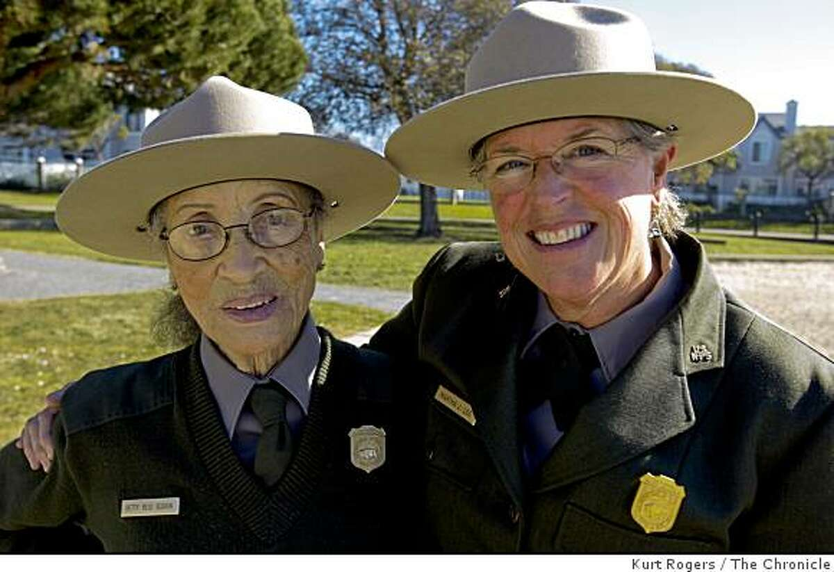 ( Left) Betty Soskin 87 is the oldest park ranger in the country. She and her boss Martha Lee are going to Washington to watch Barack Obama�s inauguration. At the Rosie the riveter memorial on the water front in Richmond.. on Friday Jan 16, 2009 in Richmond , Calif