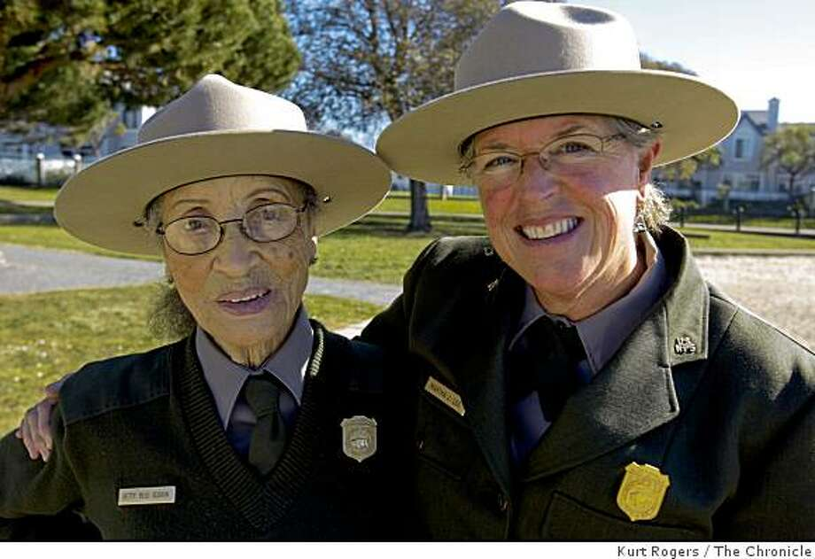 ( Left) Betty Soskin 87 is the oldest park ranger in the country. She and her boss Martha Lee are going to Washington to watch Barack Obama�s inauguration. At the Rosie the riveter memorial on the water front in Richmond.. on Friday  Jan 16,  2009 in Richmond  , Calif Photo: Kurt Rogers, The Chronicle