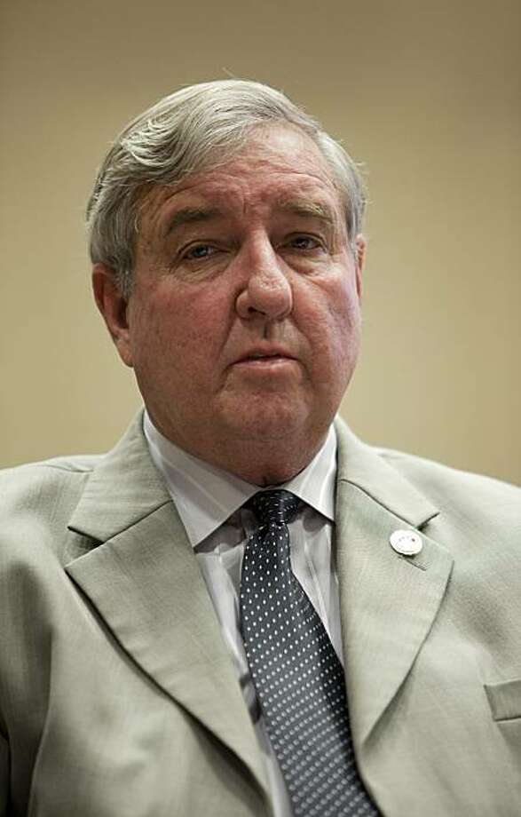 Los Angeles County District Attorney Steve Cooley addresses issues surrounding enforcement of California's open meeting law, the Brown Act, at an educational forum Thursday, Oct. 1, 2009, in Los Angeles. (AP Photo/Damian Dovarganes) Photo: Damian Dovarganes, AP
