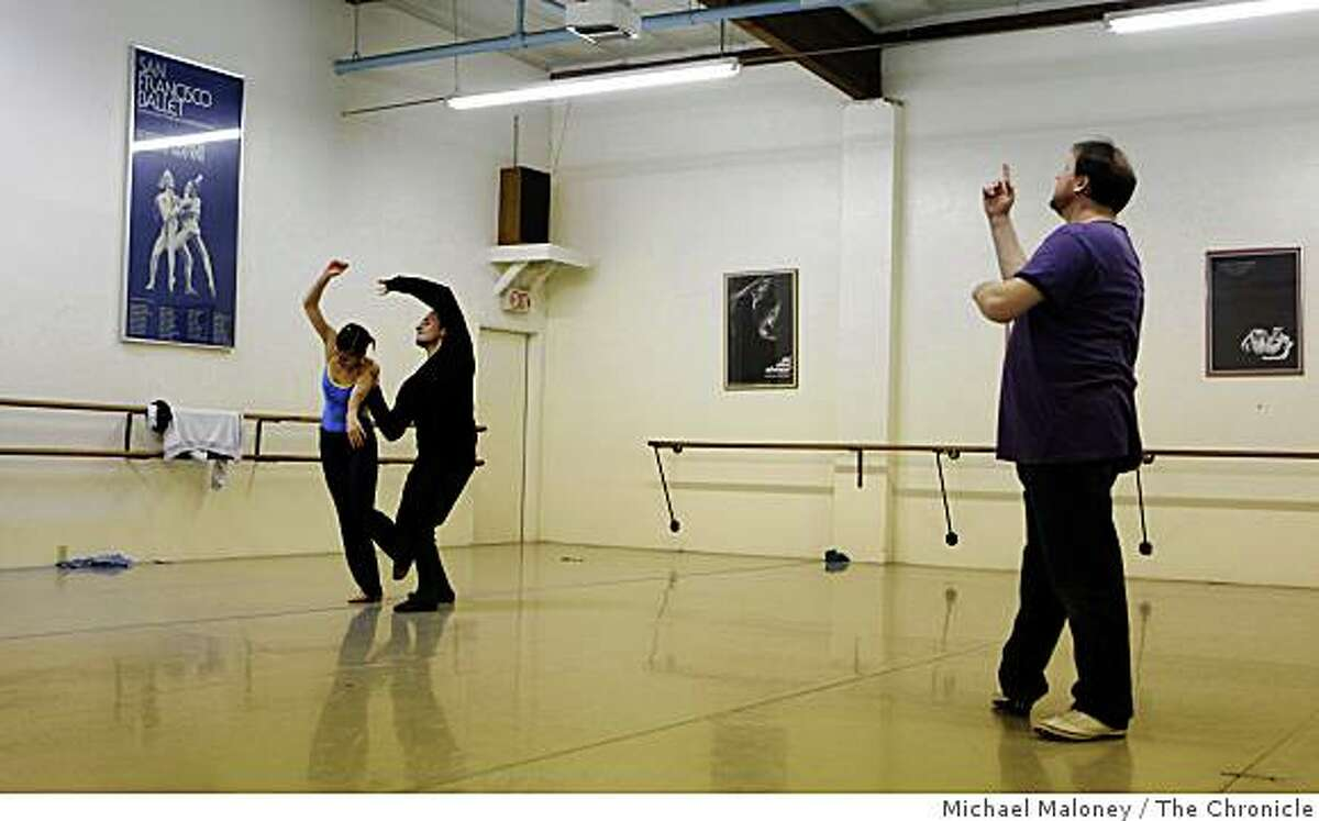 Dancers Laura Rutledge and Kevin Delaney of Company C Contemporary Ballet rehearse under the direction of founder and Artistic Director Charles Anderson, (far right) a former member of the New York City Ballet in Walnut Creek, Calif., on Tuesday, December 30, 2008.